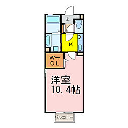JR東北本線 古河駅 徒歩23分の賃貸アパート 2階1Kの間取り