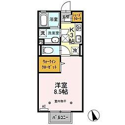 JR東北本線 古河駅 10.7kmの賃貸アパート 2階1Kの間取り