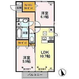 JR東北本線 古河駅 10.7kmの賃貸アパート 2階2LDKの間取り