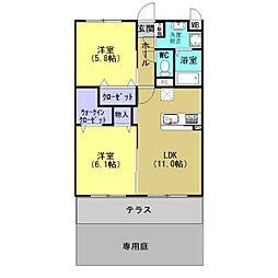 JR東北本線 古河駅 4.8kmの賃貸マンション 1階2LDKの間取り
