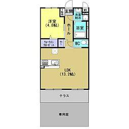 JR東北本線 古河駅 4.8kmの賃貸マンション 1階1LDKの間取り