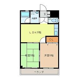 ハイツヤマヨシ[202号室]の間取り