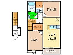フルール蘭A・B[2階]の間取り
