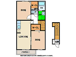 グリュックハウスA・B[2階]の間取り