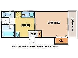 ハッピーハイツ3[1階]の間取り