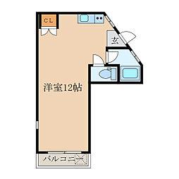 白水マンション 2階ワンルームの間取り