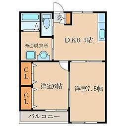 福島ラ・クオーレ[205号室]の間取り