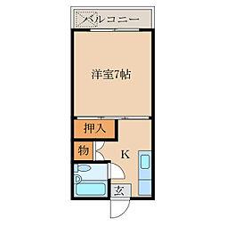 サンシャインKANOYA 2階1Kの間取り