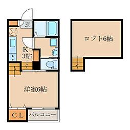 YURI-NA鹿屋 2階1Kの間取り