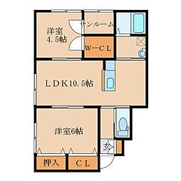 田崎町新築アパートA棟(仮称 1階2LDKの間取り