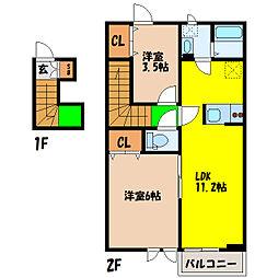 埼玉県熊谷市冑山の賃貸アパートの間取り