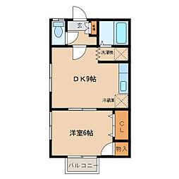 茨城県つくば市大角豆の賃貸アパートの間取り