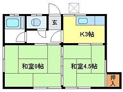 グランメールKAZUII[4階]の間取り