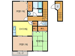 クレストールKIKI B[2階]の間取り