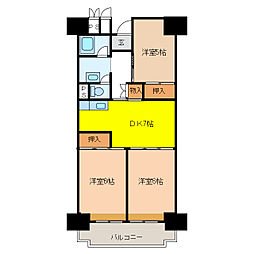 ビレッジハウス 岐阜タワー[108号室]の間取り