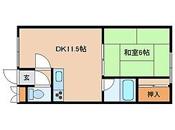 北海道函館市時任町の賃貸アパートの間取り