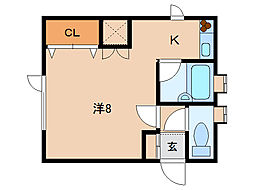 北海道函館市上野町の賃貸アパートの間取り