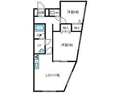北海道函館市中道2丁目の賃貸アパートの間取り