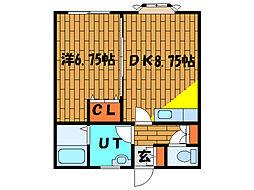 北海道函館市弥生町の賃貸アパートの間取り
