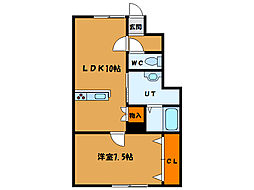 北海道北斗市七重浜3丁目の賃貸アパートの間取り
