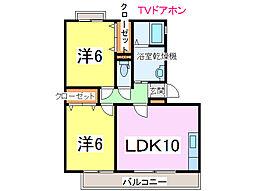 JR内房線 長浦駅 徒歩13分の賃貸アパート 2階2LDKの間取り