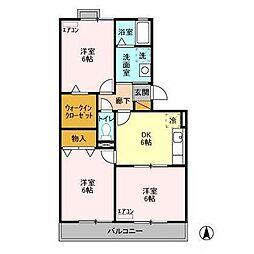 JR内房線 長浦駅 徒歩13分の賃貸アパート 3階3DKの間取り