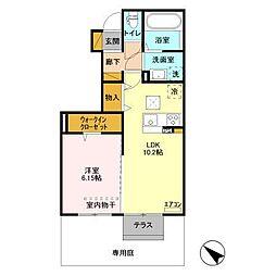 JR内房線 八幡宿駅 徒歩15分の賃貸アパート 1階1LDKの間取り