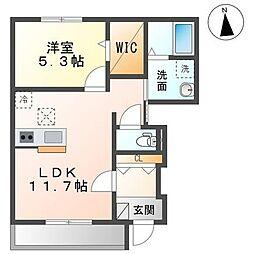 仮称袖ヶ浦市蔵波台4丁目新築アパート 1階1LDKの間取り