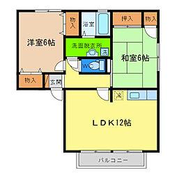 徳島県徳島市八万町橋本の賃貸アパートの間取り