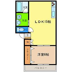 徳島県徳島市八万町大坪の賃貸アパートの間取り