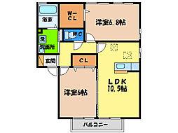 ディアコートK B[2階]の間取り
