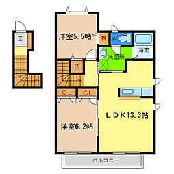 シャルマン高洲I[2階]の間取り