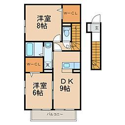D-roomさつき[2階]の間取り