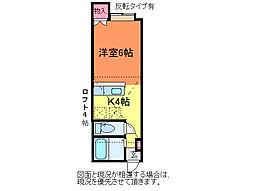 アパートメント・エコルセA[1階]の間取り