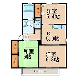 シャーメゾン堀口[2階]の間取り