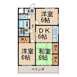 愛知県小牧市中央4丁目の賃貸マンションの間取り