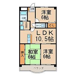 愛知県小牧市間々本町の賃貸マンションの間取り