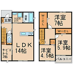 [一戸建] 愛知県小牧市大字北外山 の賃貸【愛知県 / 小牧市】の間取り