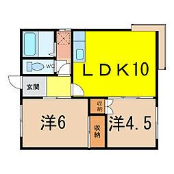 中田コーポ[2階]の間取り