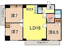 トーワグリーンヒル6条[3階]の間取り