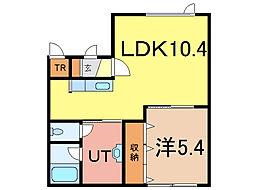 クオーレK[1階]の間取り