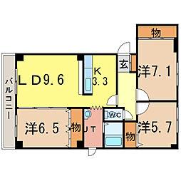 エスティフローラII[1階]の間取り