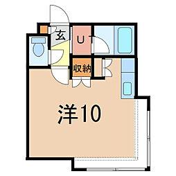 コットンハウス11 1階ワンルームの間取り