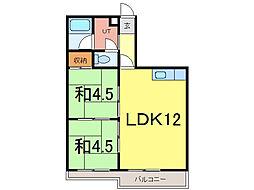ウインザー8・8 10階2LDKの間取り