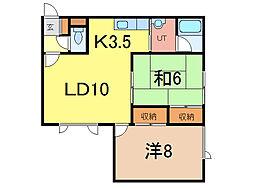 北海道旭川市七条通13丁目の賃貸アパートの間取り