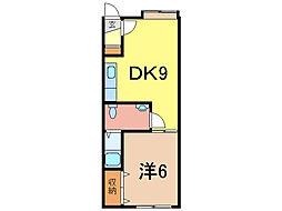 スカイハイツ3条西5[1階]の間取り