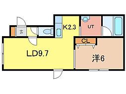 クリスタB[2階]の間取り