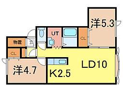 ノヴェル2・15B[2階]の間取り