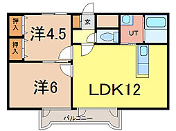 北海道旭川市亀吉二条1丁目の賃貸アパートの間取り