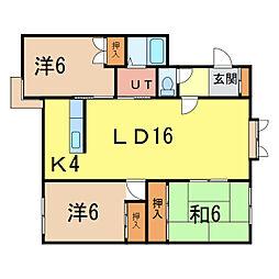北海道旭川市大町二条1丁目の賃貸アパートの間取り